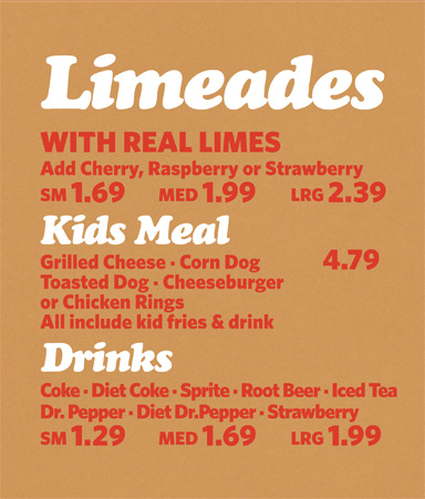 Limeades, Kids Meal & Drinks