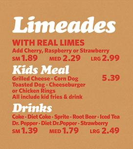 Limeades, Kids Meal & Drinks